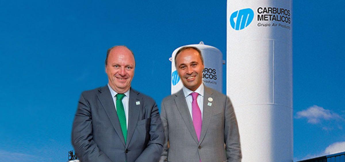 De izq. a dcha.: Javier Godoy, director de Carburos Médica; y Ahmed Hababou, director general de Carburos Metálicos. (Foto. Fotomontaje ConSalud)