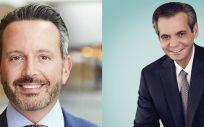 De izq. a dcha., Brenton L. Saunders, CEO de Allergan; y Richard A, CEO de AbbVie (Foto de EcSalud)