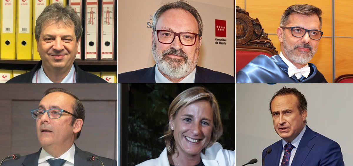 De izquierda a derecha, arriba abajo: Antonio López Farré, Juan Blanco, Rafael Urrialde, Eduardo Pastor, Begoña Gómez y José Luis Enríquez | Fotomontaje ConSalud.es