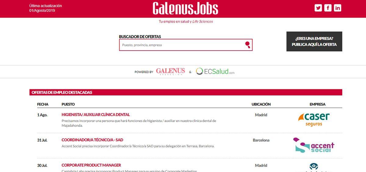 Estas son las ofertas de la semana en GalenusJobs. (Foto. ConSalud.es)