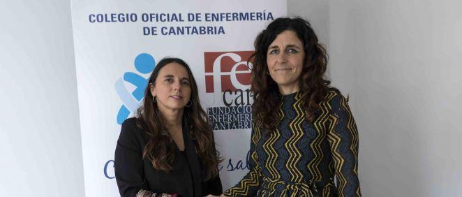 De izq. a dcha.: Raquel Murillo, directora general adjunta y directora del Ramo de Responsabilidad Civil Profesional de A.M.A.; y Rocío Cardeñoso, presidenta del Colegio de Enfermería de Cantabria.