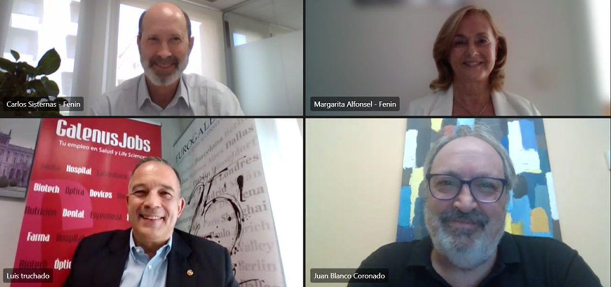 Arriba, Carlos Sisternas, director de Fenin Catalunya; y Margarita Alfonsel, secretaria general de Fenin; abajo, Luis Truchado y Juan Blanco, socios cofundadores de GalenusJobs.