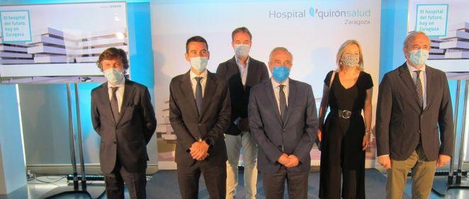 Autoridades que participan en la presentación del proyecto del nuevo Hospital Quirónsalud Zaragoza.   EUROPA PRESS