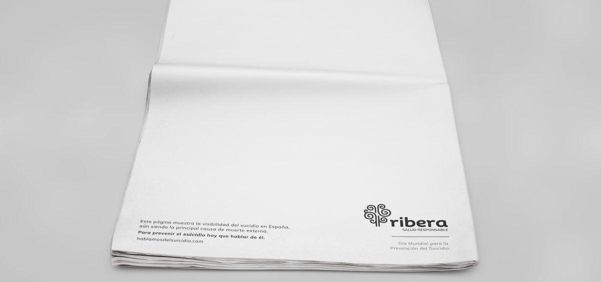 Campaña 'en blanco' para la visibilización del suicidio de Ribera. (Foto. Grupo sanitario Ribera)