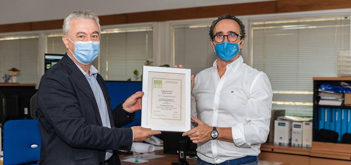 Entrega del premio Gold TwoStar Safety Award de EIGA