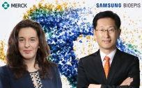 De izd. a drcha.: Dora Bibila, MSD, y Christopher Hansung Ko, Samsung Bioepis.