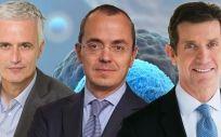 Edward Van Wezel, socio director de BGV; Giovanni Caforio, CEO de Bristol Myers Squibb; y Alex Gorsky, CEO de Johnson & Johnson