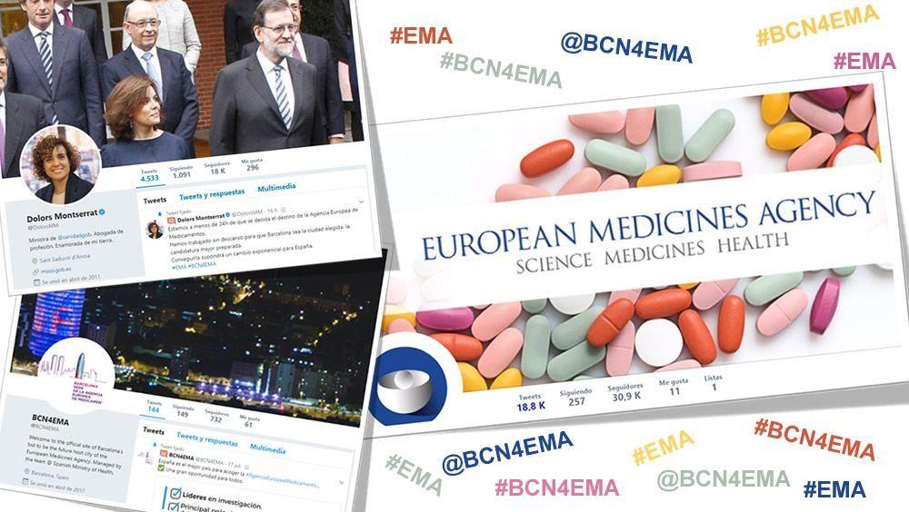 Primeras reacciones sobre la sede de la EMA en Twitter.