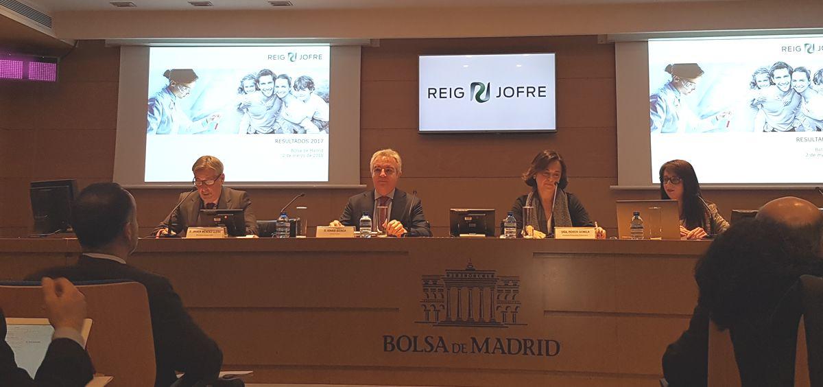 Ignasi Biosca, CEO de Reig Jofre durante la presentación de los resultados financieros de 2017 en la Bolsa de Madrid.
