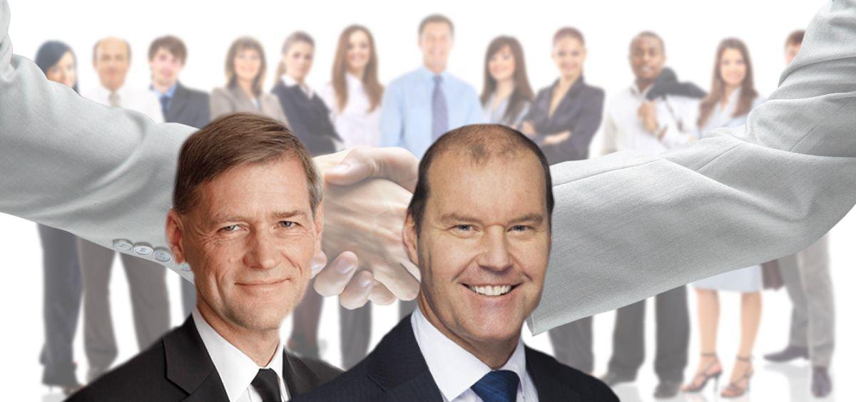 De izq. a dcha.: Flemming Ornskov, CEO de Shire y Christophe Weber, CEO de Takeda.