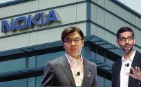 El CEO de Samsung,  Kim Hyun Suk, y el CEO de Google, Pichai Sundarajan