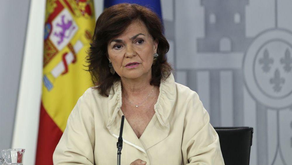Carmen Calvo, vicepresidenta del Gobierno, durante una de sus intervenciones en Consejo de Ministros.