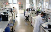 Investigadores de Polimerbio en el laboratorio de Bilbao.