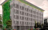 Maqueta del nuevo centro médico del Grupo Asisa en Barcelona, que contará con la máxima eficiencia energética.