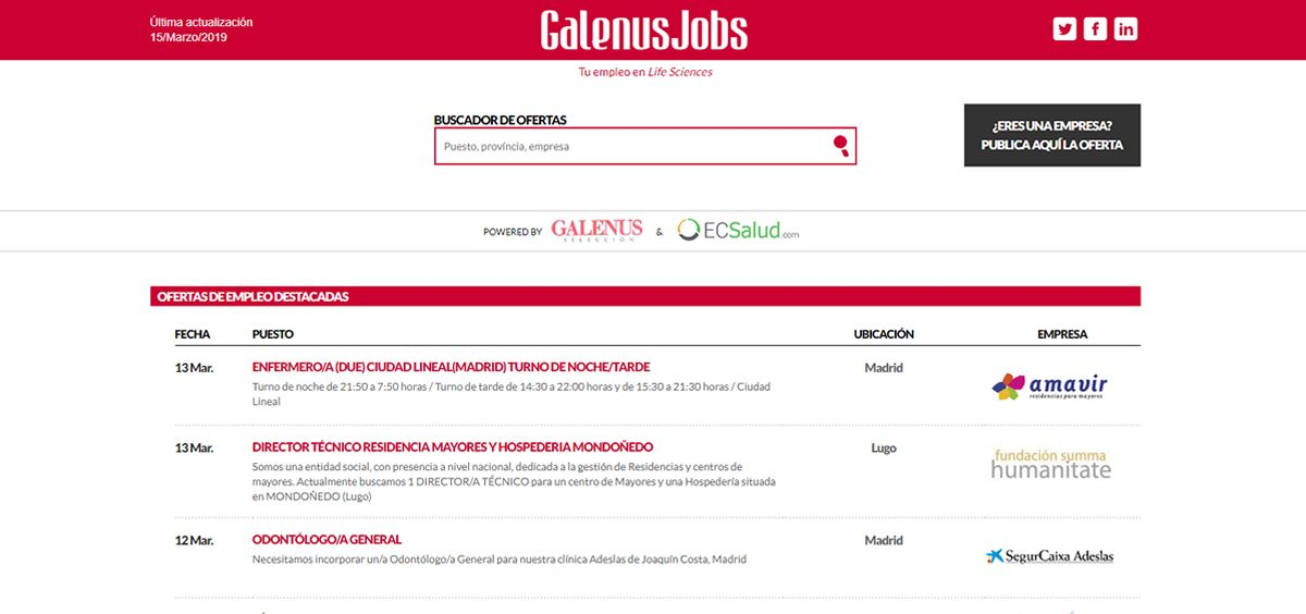 Ofertas de empleo GalenusJobs