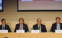 Miguel R. Ferro, Francisco J. Herrera, Luis Campos y Luis A. García Alia, durante la Asamblea General de A