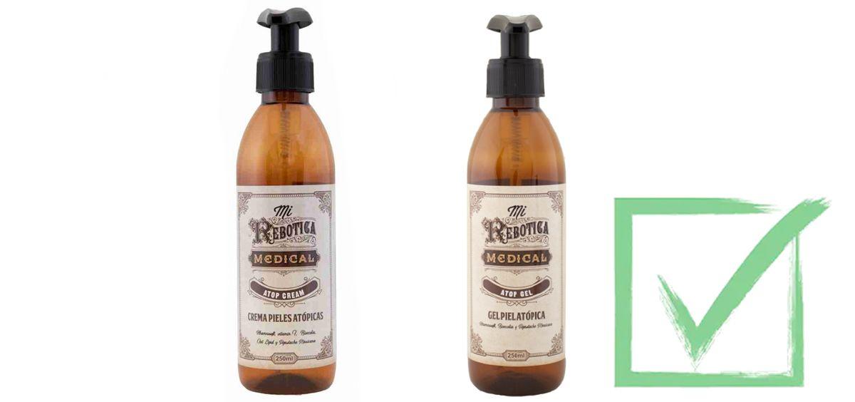 Crema y gel de baño para pieles atópicas de Mi Rebotica (Foto. Fotomontaje Estetic)