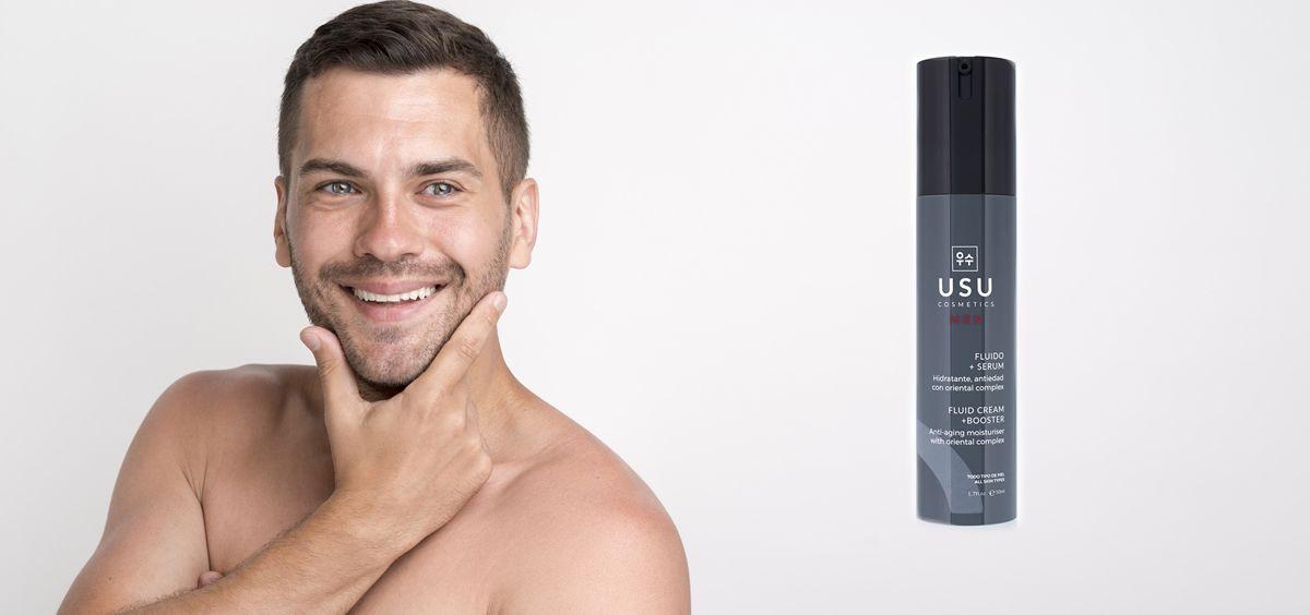 Fluido y sérum para hombre de USU Cosmetics (Foto. Fotomontaje Estetic)