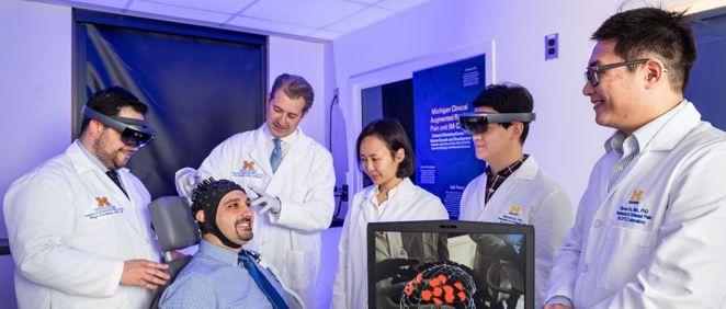 El sistema de realidad aumentada para analizar el dolor en los pacientes (Foto. Universidad de Michigan)