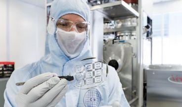 La tecnología se presenta en forma de pequeños chips que se pueden unir en matrices para estudiar cómo se comunican los grupos de células (Foto: Escuela Politécnica Federal de Lausana)