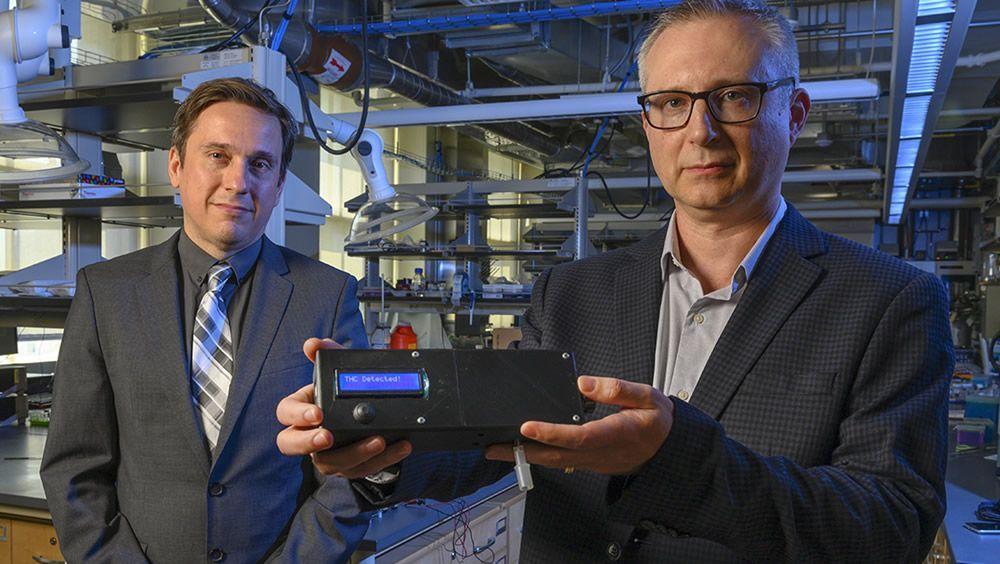 Los creadores, con el nuevo sistema uso de marihuana y detección en el aliento (Foto: Universidad de Pittsburgh)