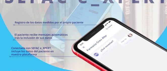 La app permite el registro automático y diferenciado de los datos aportados por el paciente a través de la aplicación en la plataforma SEFAC e_XPERT.
