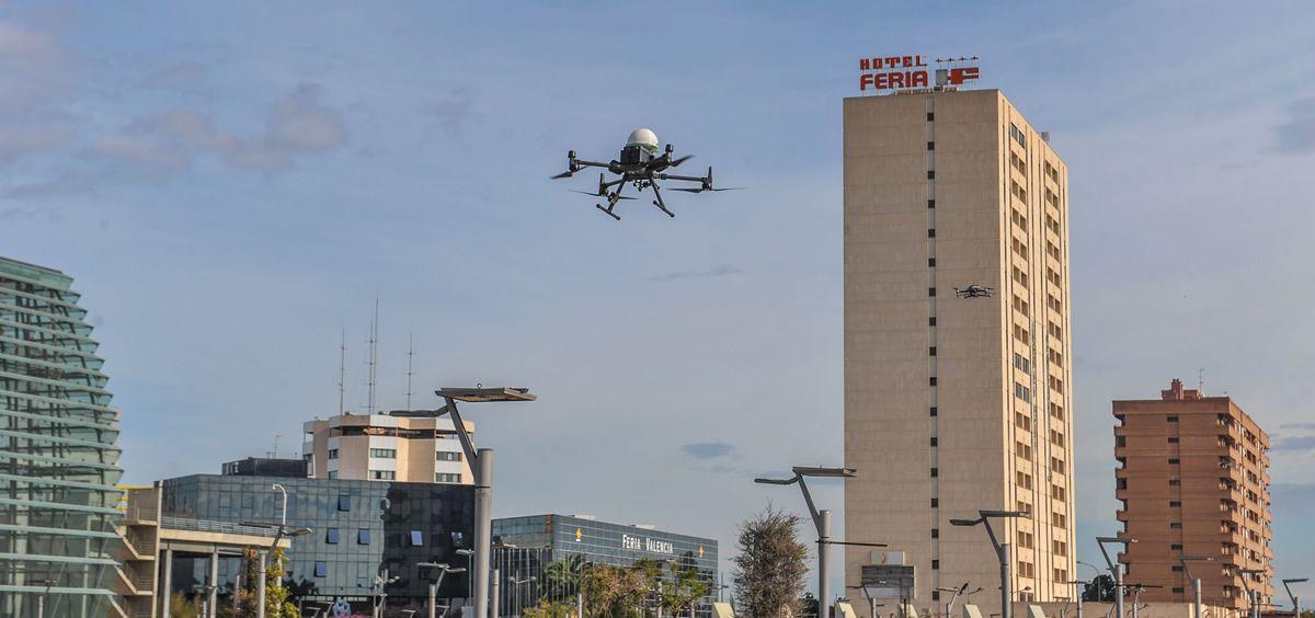El dron, durante su servicio en Valencia (Foto. UPM)