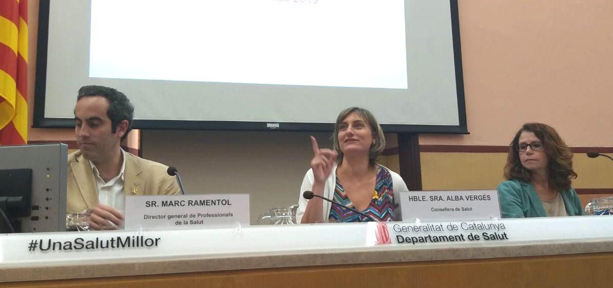Alba Vergés, consejera de Salud, presentando la oferta de plazas de Formación Sanitaria Especializada de 2019.
