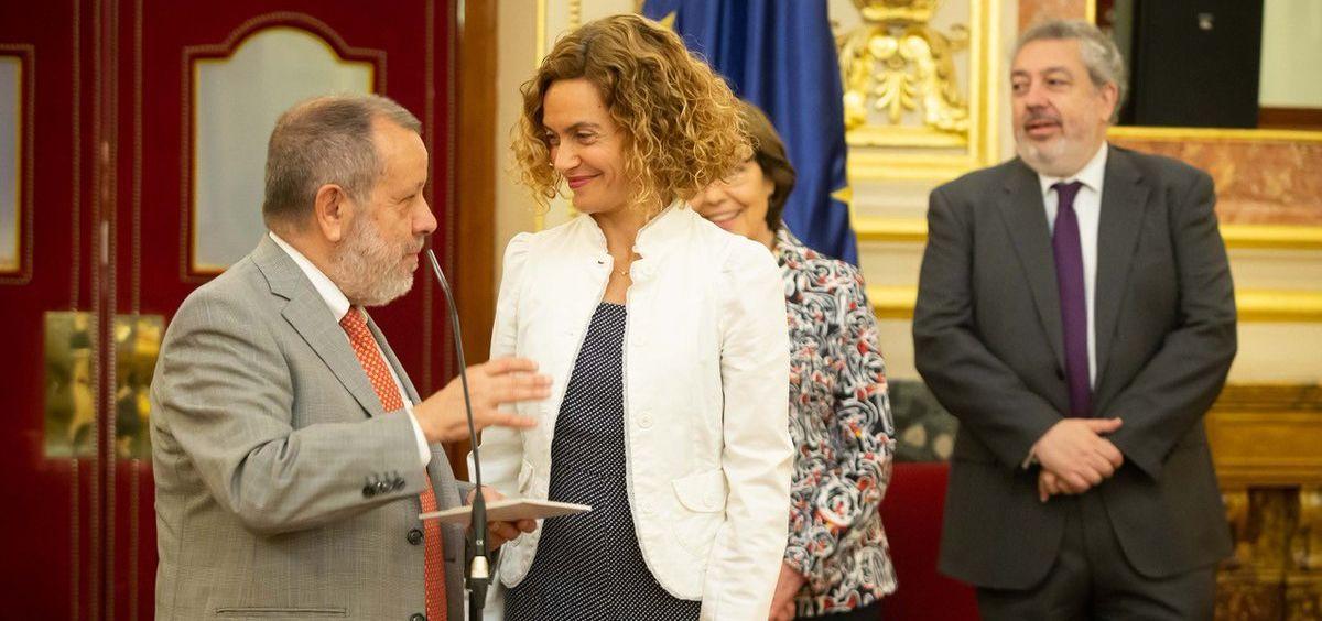 El Defensor del Pueblo, Francisco Fernández Marugán, entrega el Informe Anual de 2018 a la presidenta del Congreso, Meritxell Batet
