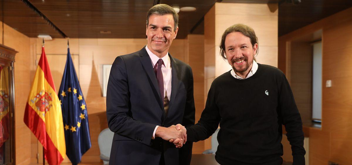 Pedro Sánchez, presidente del Gobierno en funciones y secretario general del PSOE, junto a Pablo Iglesias, líder de Unidas Podemos.