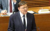 Ximo Puig, candidato a la presidencia de la Generalitat, durante su discurso de investidura.