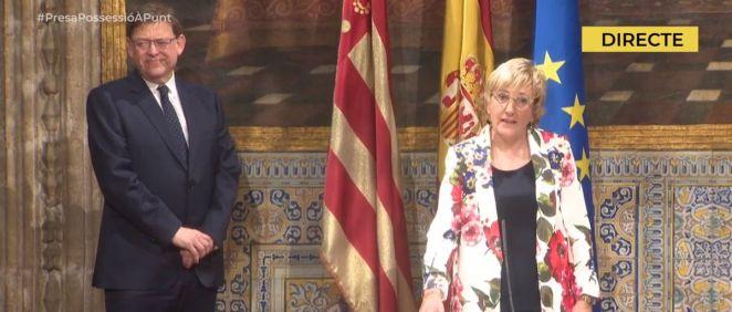 Ana Barceló toma posesión como consejera de Sanidad Universal y Salud Pública en un acto presidido por Ximo Puig / Foto: À Punt