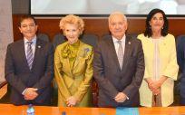 De izquierda a derecha: Diego Ayuso, Pilar Fernández, Florentino Pérez Raya, Raquel Rodríguez y José Luis Cobos, representantes del Consejo General de Enfermería (CGE), durante la jornada 'Rol de la Enfermera en Gestión Sanitaria'