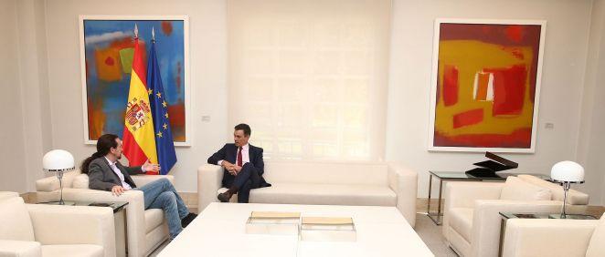 Pedro Sánchez y Pablo Iglesias, durante una de sus reuniones en Moncloa. Pool Moncloa/Fernando Calvo