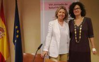María Río y Julia del Amo, durante la VIII Jornada de Salud Pública celebrada este jueves en la Asociación de la Prensa de Madrid (APM)