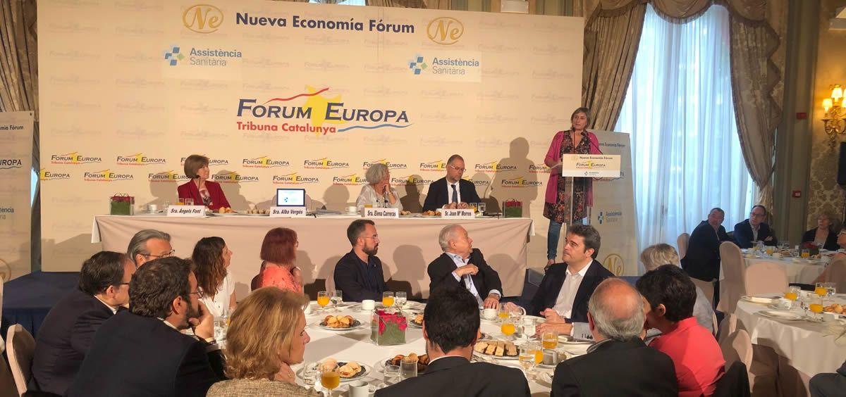 La consejera de Salud de la Generalitat de Cataluña, durante su intervención en el desayuno informativo del Fórum Europa - Tribuna Catalunya
