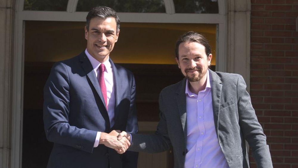 Pedro Sánchez, secretario general del PSOE, y Pablo Iglesias, líder de Unidas Podemos / Foto: Flickr La Moncloa