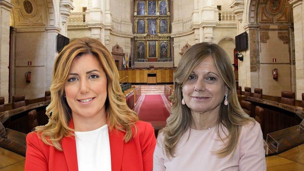 La expresidenta de la Junta de Andalucía, Susana Díaz, y la exconsejera de Salud, Marina Álvarez | Fotomontaje ConSalud.es