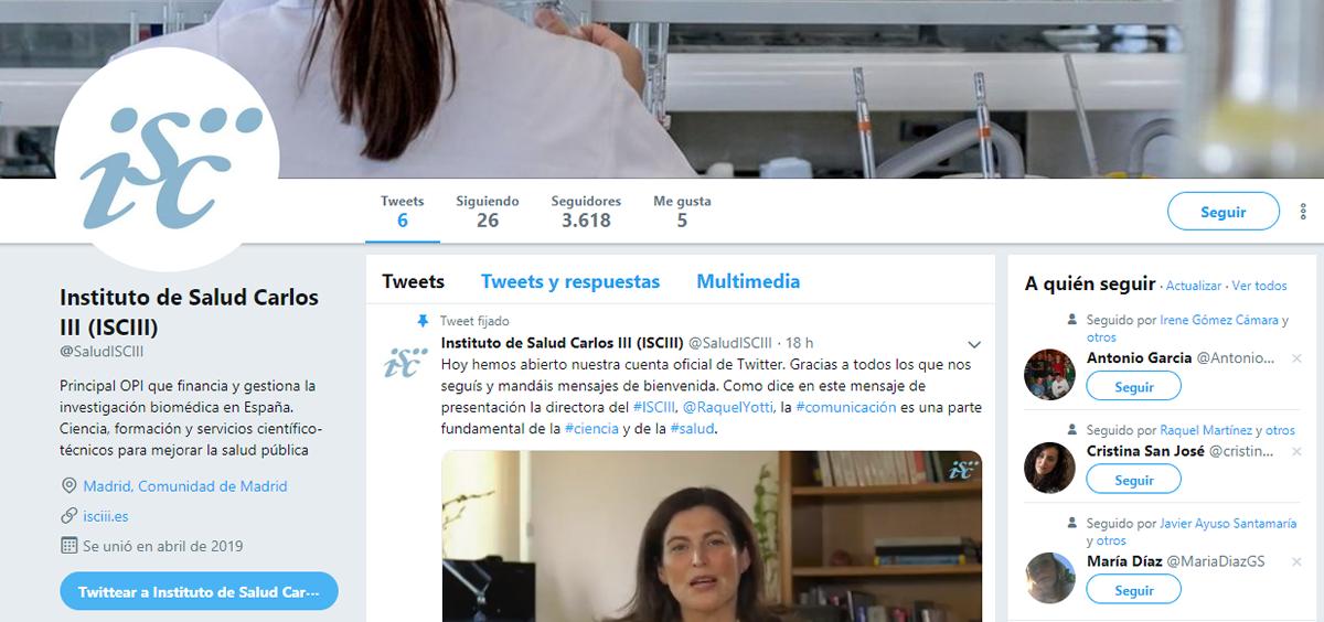 Perfil de Twitter del Instituto de Salud Carlos III (@SaludISCIII)