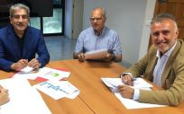 De izq. a der.: Noemí Santana (Sí Podemos), Román Rodríguez (Nueva Canarias), Casimiro Curbelo (ASG) y Ángel Víctor Torres (PSOE) / Foto: PSOE Canarias