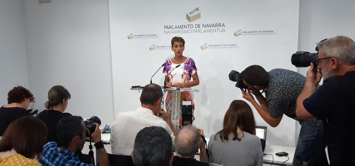 La líder del PSN-PSOE y candidata a la presidencia del Gobierno, María Chivite.