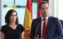 Isabel Díaz Ayuso e Ignacio Aguado, durante la rueda de prensa. (Foto: Twitter Cs Madrid)