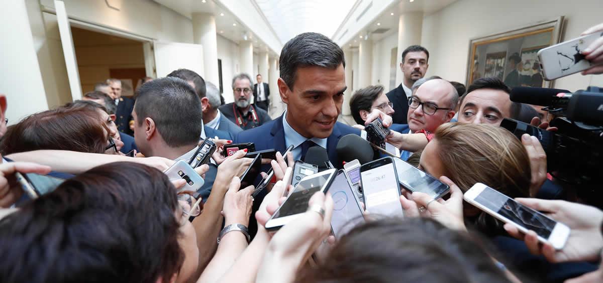 El presidente del Gobierno en funciones, Pedro Sánchez, comparece ante los medios de comunicación  (Foto. Pool Moncloa / Fernando Calvo)