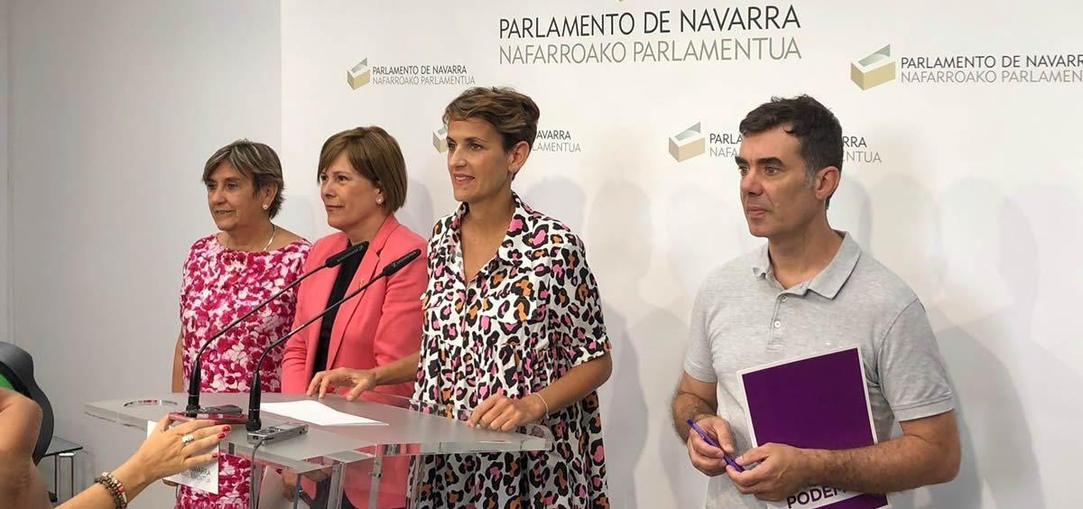 Las líderes de PSN, Geroa Bai, Podemos e Izquierda Eskerra en la rueda de prensa de anuncio del preacuerdo. (Foto. @Geroa Bai)