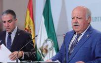 Jesús Aguirre y Elías Bendodo tras el Consejo de Gobierno (Foto. Twitter Junta de Andalucía)
