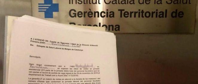 Documento presentado ante el Instituto Catalán de Salud (ICS) por parte de Metges de Cataluña. (Foto. Metges)