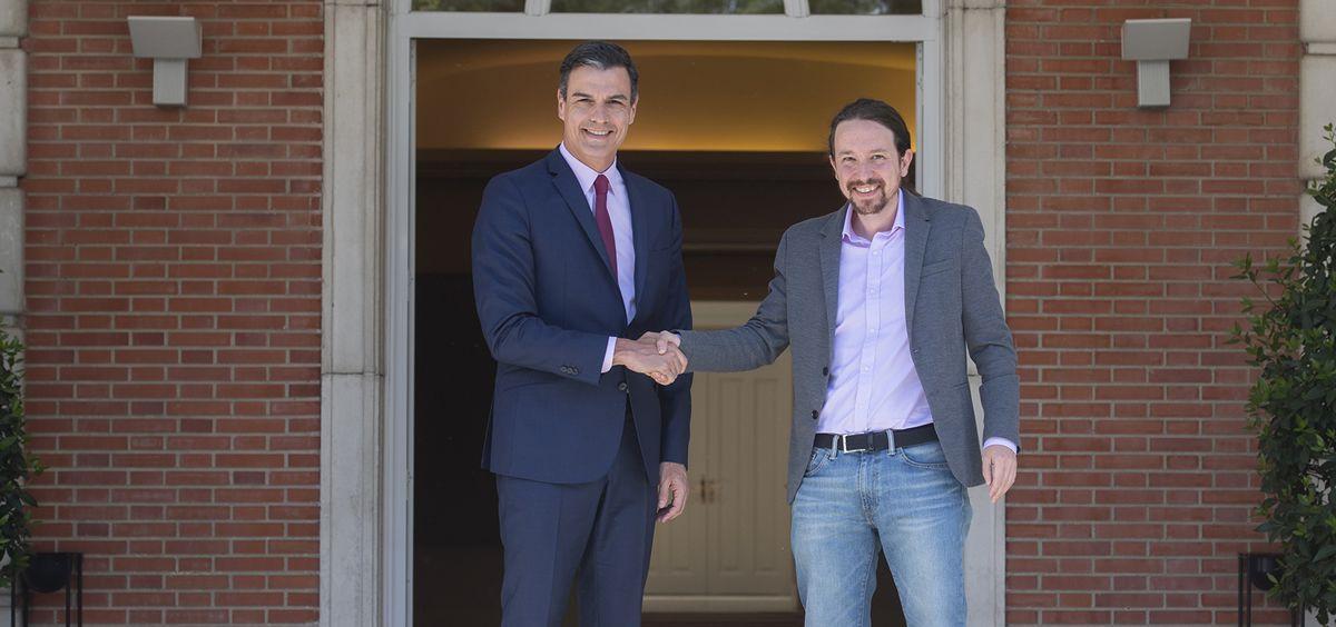 El presidente del Gobierno en funciones, Pedro Sánchez, y Pablo Iglesias, secretario general de Podemos. (Foto. Pool Moncloa y Borja Puig de la Bellacasa)