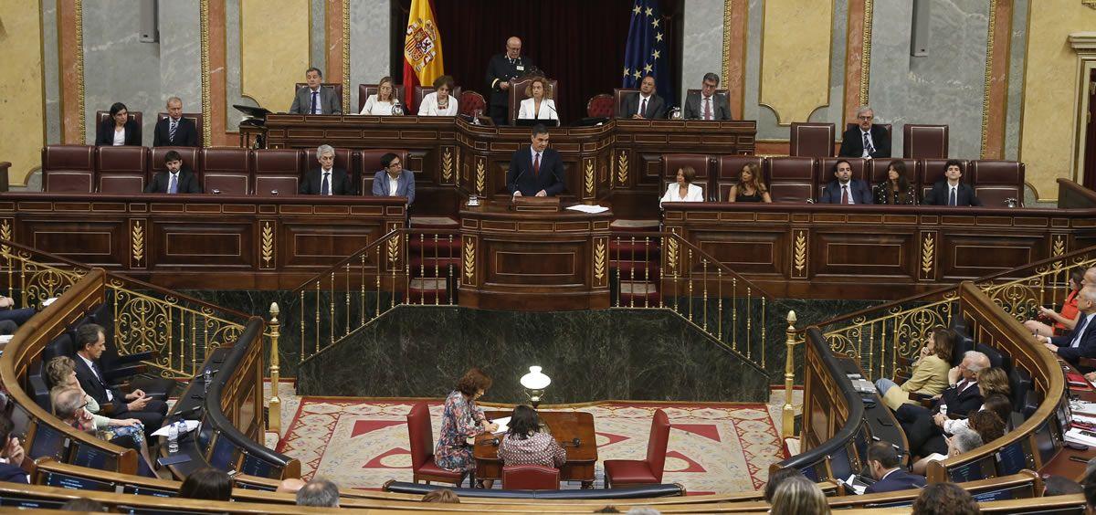El líder del PSOE, Pedro Sánchez, interviniendo en el pleno de investidura. (Foto. Congreso de los Diputados)