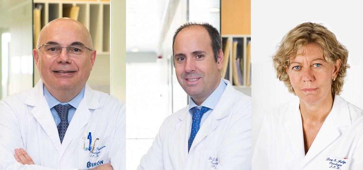 De izq. a dcha.: Josep Tabernero, director médico y de la unidad de cáncer gastrointestinal; Javier Cortés, director de la unidad de cáncer de mama; y Enriqueta Felip, responsable de la unidad de cáncer de pulmón del IOB. (Foto. ConSalud.es)