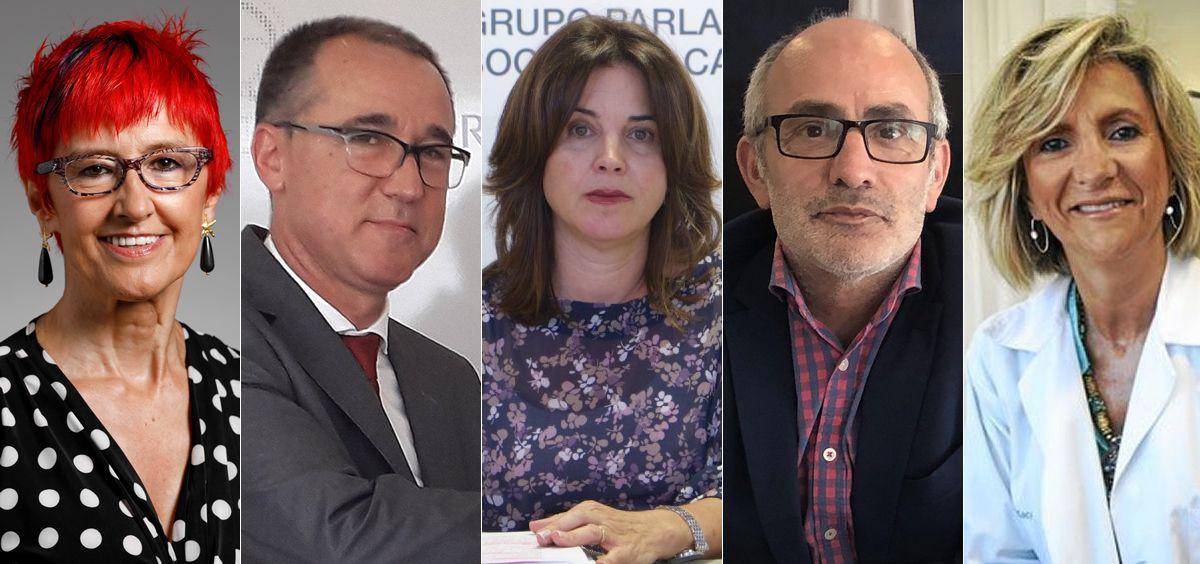 Santos Induráin (Navarra), Pablo Fernández (Asturias), Teresa Cruz (Canarias), Miguel Rodríguez (Cantabria) y Verónica Casado (Castilla y León) (Foto ConSalud.es)